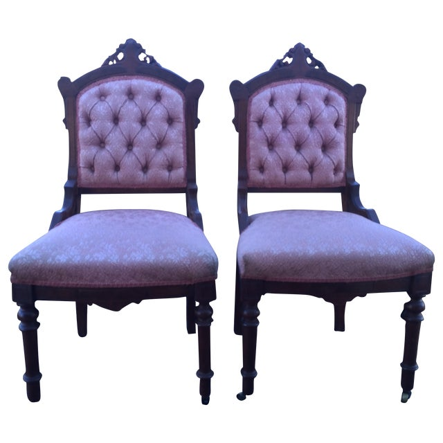Vintage Victorian Chairs, Pink Upholstery - Pair - Image 1 of 9