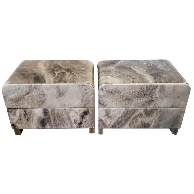 1970's Faux Marble Nighstands - Pair - Image 1 of 5