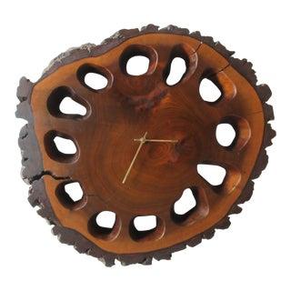 Vintage Mid-Century Black Walnut Log Slice Free Form Wall Clock