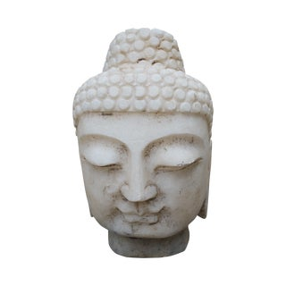 Vintage Hand Carved Marble Buddha Head