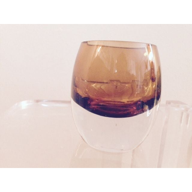 Blown Glass Amber Cognac Glasses - Image 6 of 6