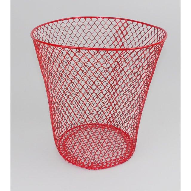 Vintage Mid-Century Modern Red Wire Metal Waste Bucket - Image 10 of 11