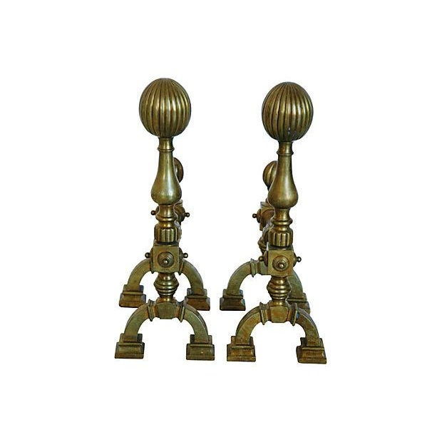 Antique English Brass Andirons - A Pair - Image 1 of 7
