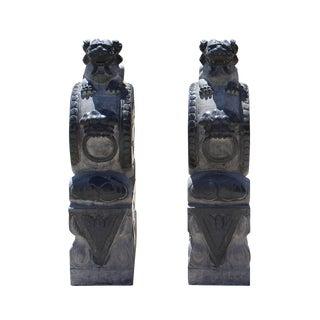 Chinese Pair Gray Black Stone Fenshui Foo Dogs Door Block Drum Statue