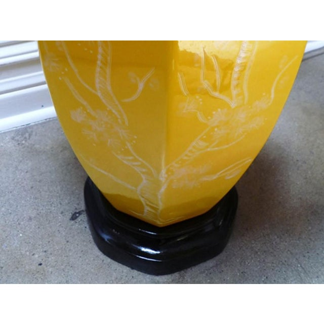 Chinoiserie Yellow Table Lamps - A Pair - Image 4 of 4