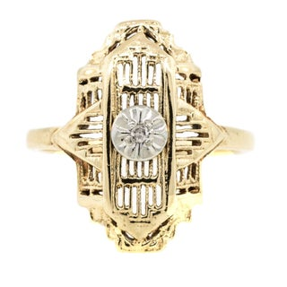 10 K Gold Filigree Diamond Ring