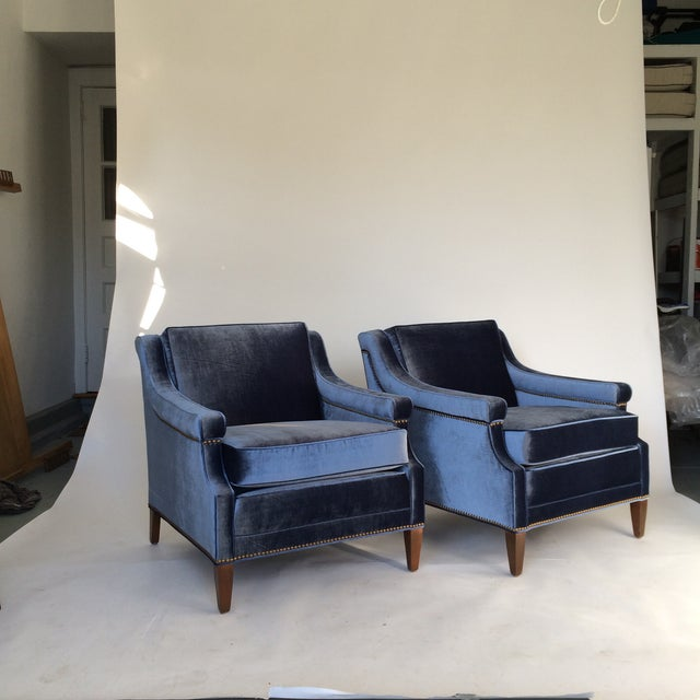Mid-Century Blue Velvet Club Chairs - A Pair - Image 2 of 10