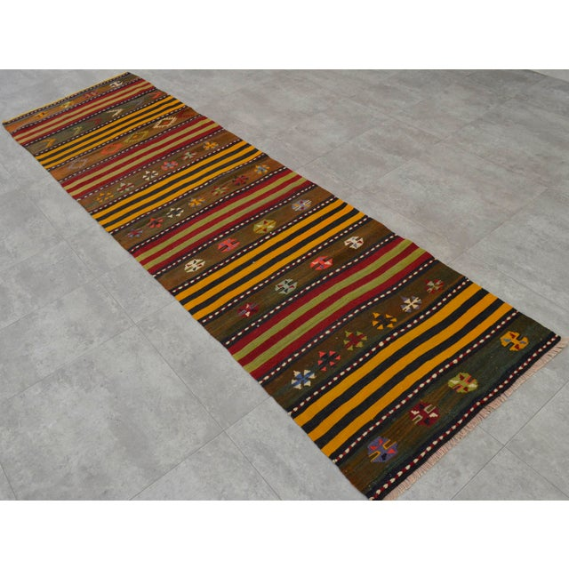 Turkish Kilim Hand Woven Wool Runner Rug