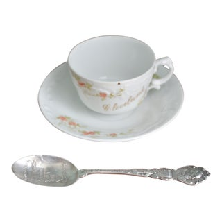 Cleveland Ohio Sterling Silver Spoon & Demitasse Cup & Saucer - Set of 3
