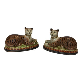 Glazed Porcelain Decorative Cats - A Pair