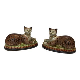 Glazed Porcelain Decorative Cats - A Pair