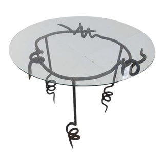 Brutalist ''pig Tail' Wrought Iron Side Table by Maroeska Metz, the Netherlands 1980's