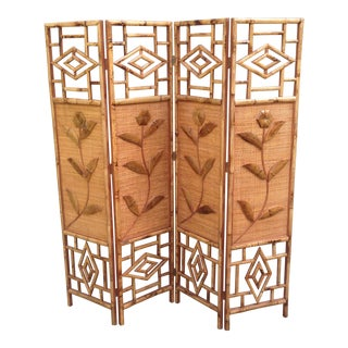 Vintage Hawaiian Bamboo 4-Panel Screen