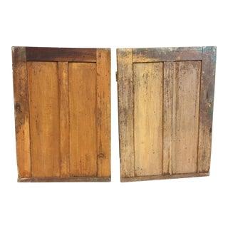 Vintage Rustic Mortised Wood Cabinet Doors - A Pair