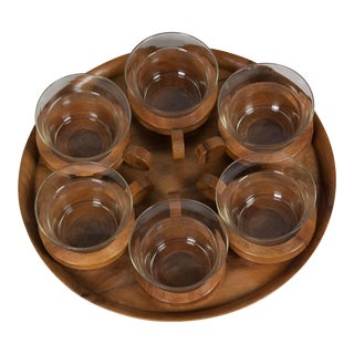 Walnut Serving Tray with Glass Cups, Carl Aubock