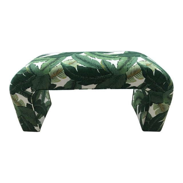 Karl Springer Style Upholstered Waterfall Bench - Image 1 of 7