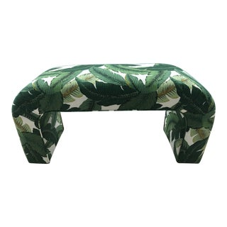 Karl Springer Style Upholstered Waterfall Bench