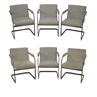 Mid-Century Modern Chrome Frame Arm Chairs - 6