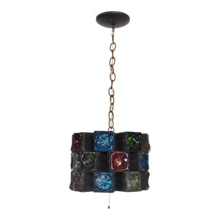 Feders Pendant Ceiling Fixture Handblown Glass and Steel Brutalist Chandelier