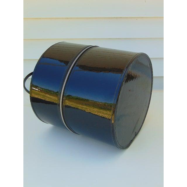 Mid-Century Modern Black Round Hat Box - Image 4 of 6