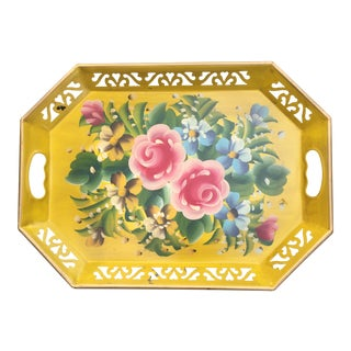 Vintage Yellow Tole Floral Tray