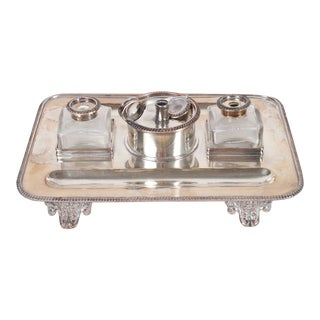 English Silver-Plated Standish Desk Set