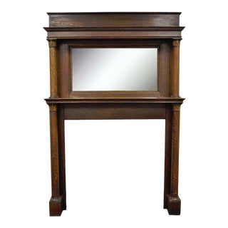 Antique Tiger Oak Fireplace Mantel Surround Mirror Architectural Salvage