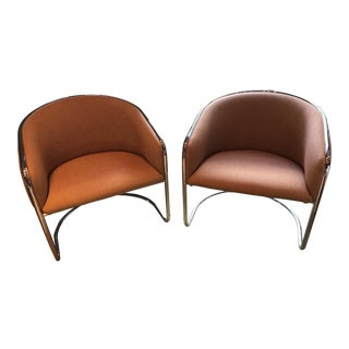 Thonet Cantilevered Chrome Chairs - A Pair