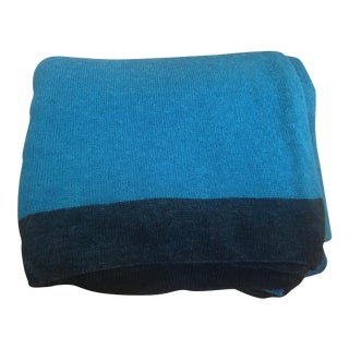 Large Thin Turquoise Cashmere Blend Blanket