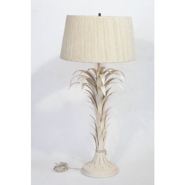 Large Tole Table Lamp with Rope Shade - Image 10 of 10