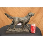 Image of Golden Retriever Bronze Sculpture on Marble Base Figurine