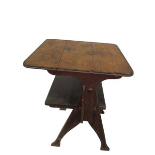 Rustic Antique Pegged Tilt Top Table Bench