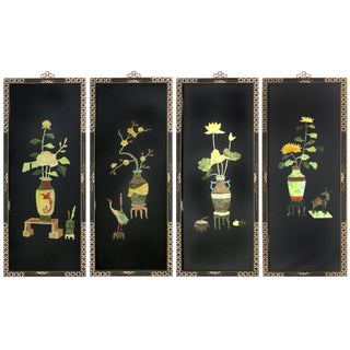 Vintage Black Lacquer & Semi-Precious Stone Asian Panels - Set of 4