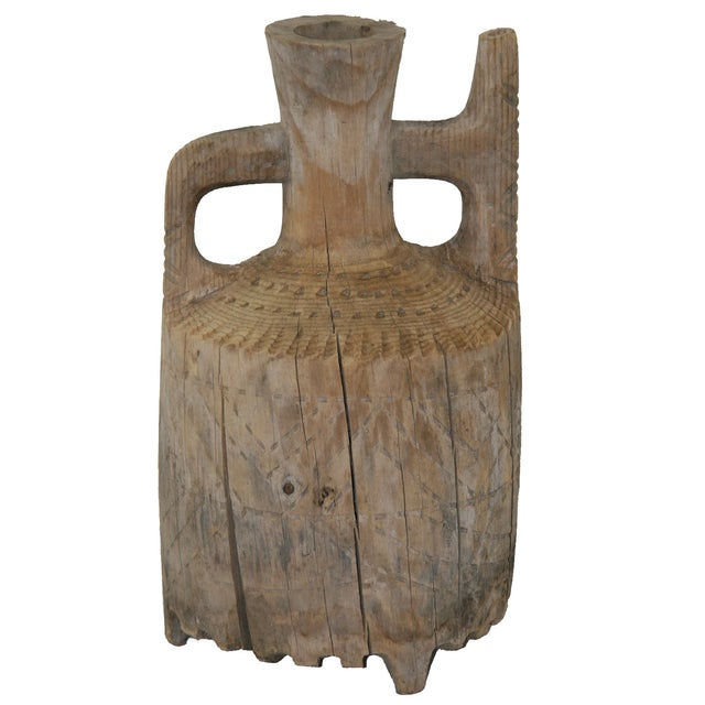 Image of Hand-Carved Antique Wood Ewer