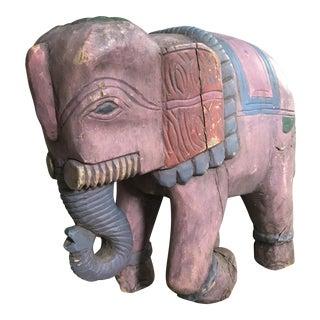 Vintage Handcarved & Painted Wood Elephant