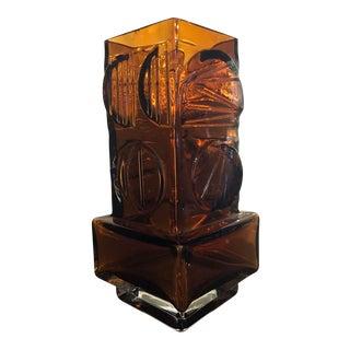 Scandinavian Cubist Glass Vase by Pentti Sarpaneva of Finland