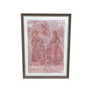 Rare Original Red Wax Monumental Brass Rubbing