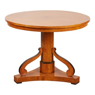 20th Century Swedish Cherry & Ebonized Biedermeier Pedestal Table