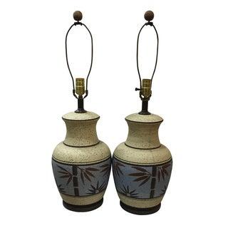 Mid-Century Bamboo Lamps - Pair