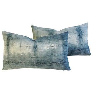 Linen Ombré Gray & White Pillows - A Pair