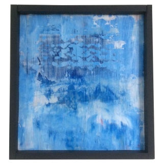 Abstract Blue Acrylic Painting on Wood