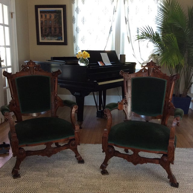 Antique Green Velvet Chairs - Image 2 of 6