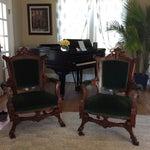 Image of Antique Green Velvet Chairs