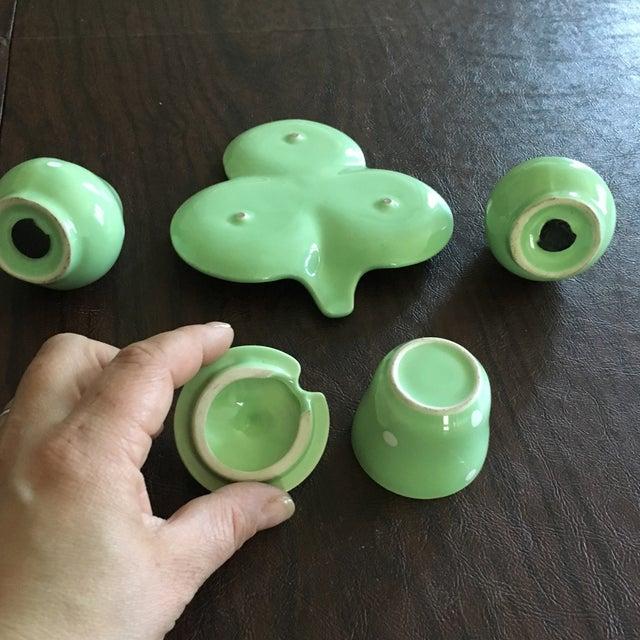 Mid-Century Mint Green Salt & Pepper Shaker - Set of 3 + Plate - Image 7 of 8