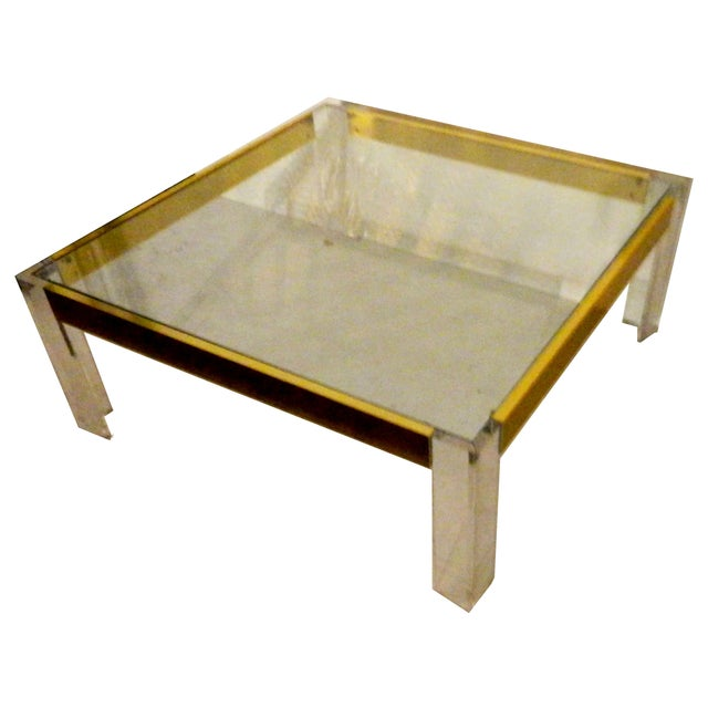 1970s lucite brass cocktail table chairish for Lucite and brass coffee table