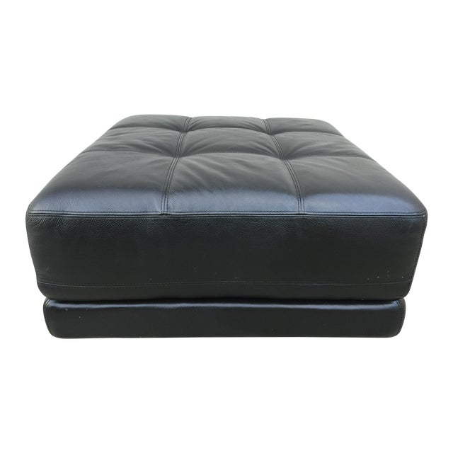 Mid-Century Black Leather Ottoman - Image 1 of 8