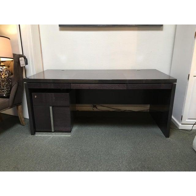 scandinavian designs gray lacquer desk chairish. Black Bedroom Furniture Sets. Home Design Ideas