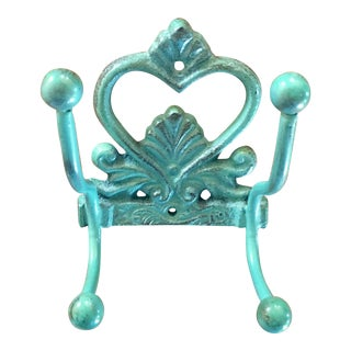 Turquoise Cast Iron Wall Hook