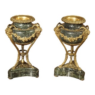 Small Pair of Antique Marble and Gilt Bronze Cassolettes from France, 19th Century
