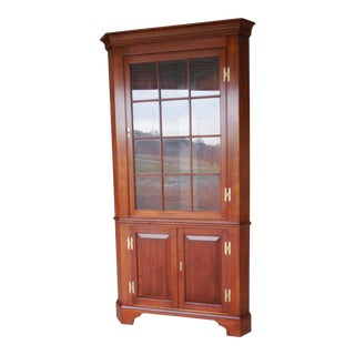HENKEL HARRIS Cherry 12 Pane Corner China Cabinet